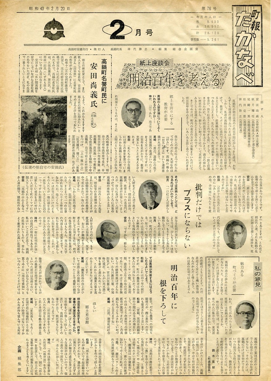 町報たかなべ No.76 1968年2月号の表紙画像