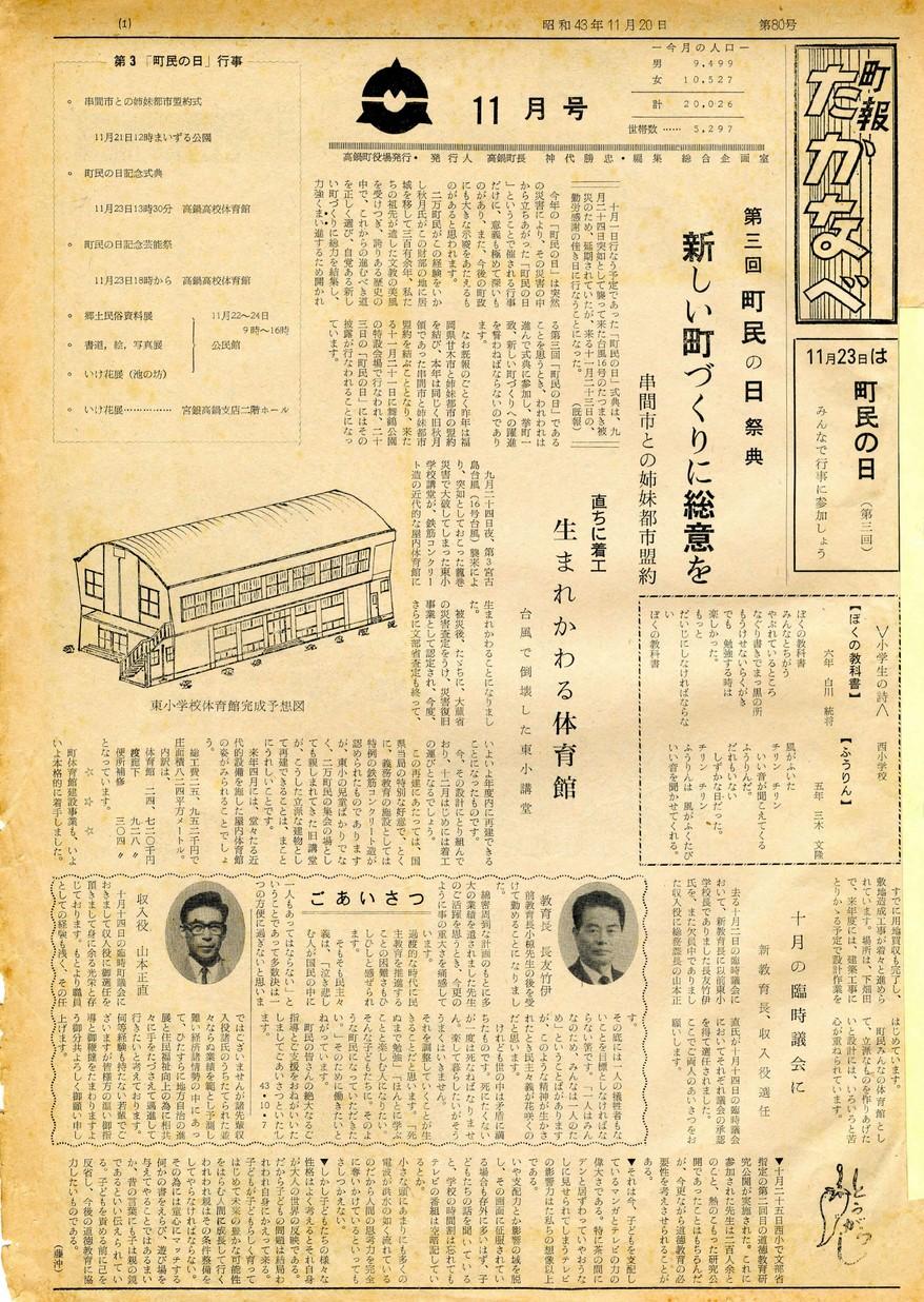 町報たかなべ No.80 1968年11月号の表紙画像