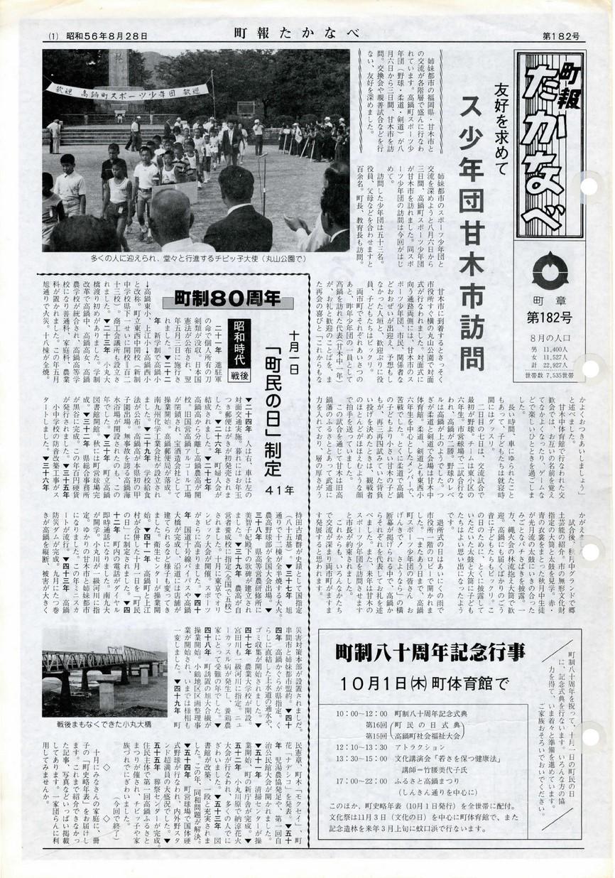 町報たかなべ No.182 1981年8月号の表紙画像