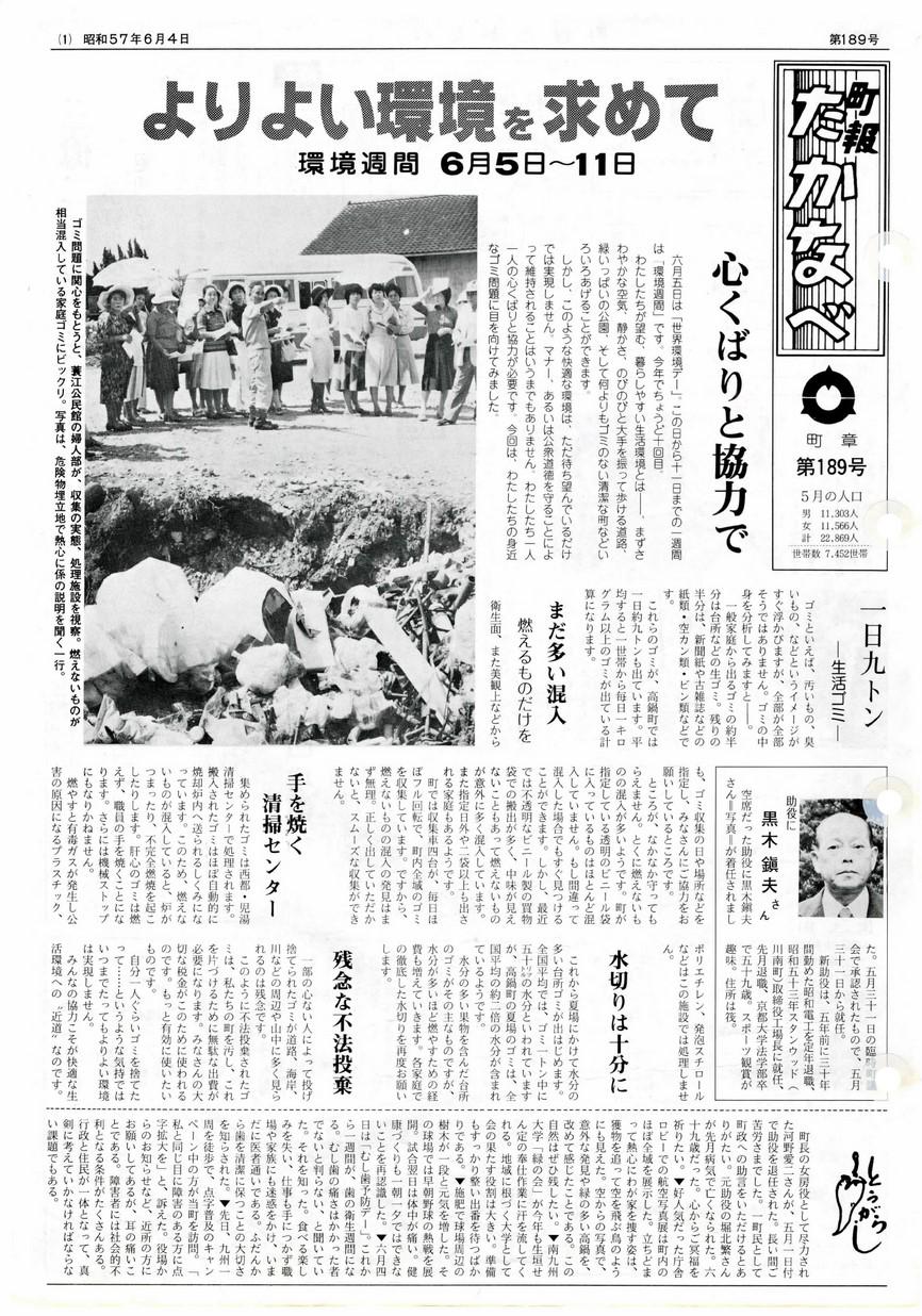 町報たかなべ No.189 1982年6月号の表紙画像