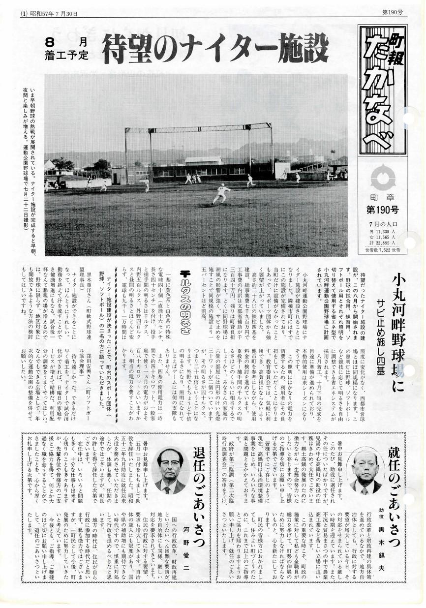 町報たかなべ No.190 1982年7月号の表紙画像