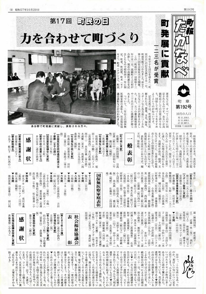町報たかなべ No.192 1982年10月号の表紙画像