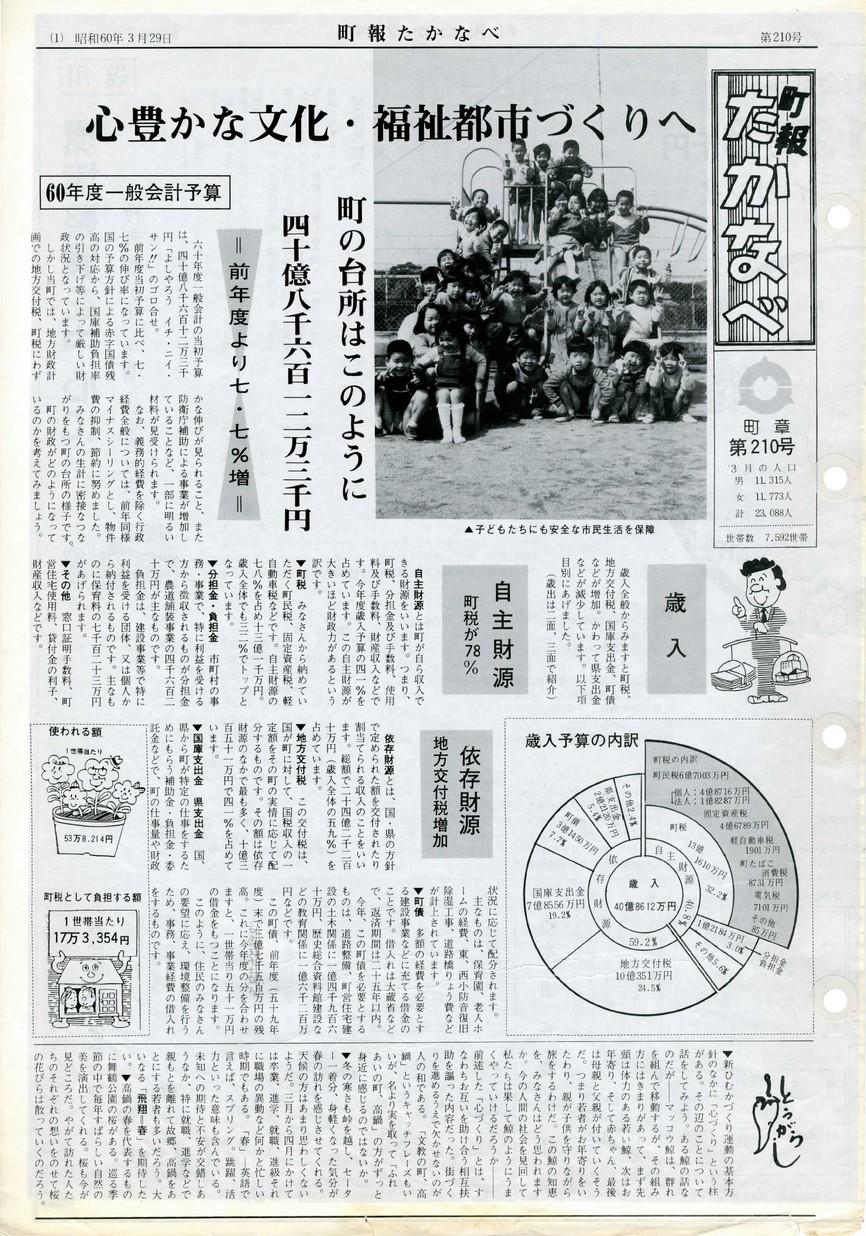 町報たかなべ No.210 1985年3月号の表紙画像