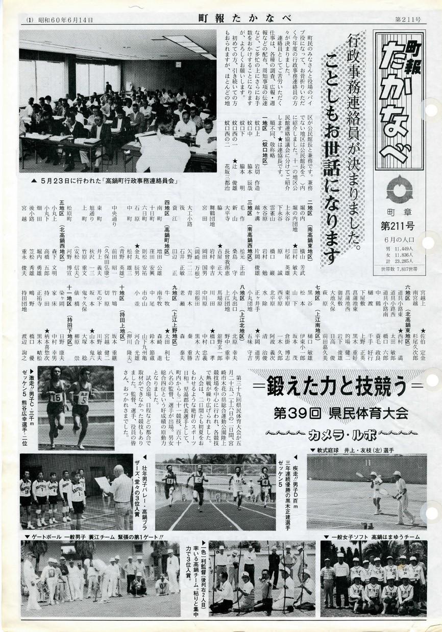 町報たかなべ No.211 1985年6月号の表紙画像