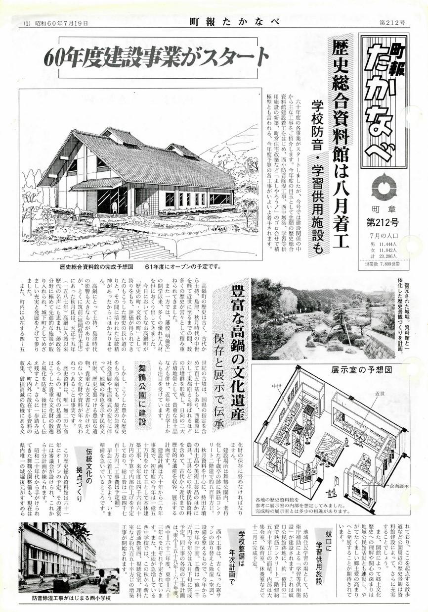 町報たかなべ No.212 1985年7月号の表紙画像