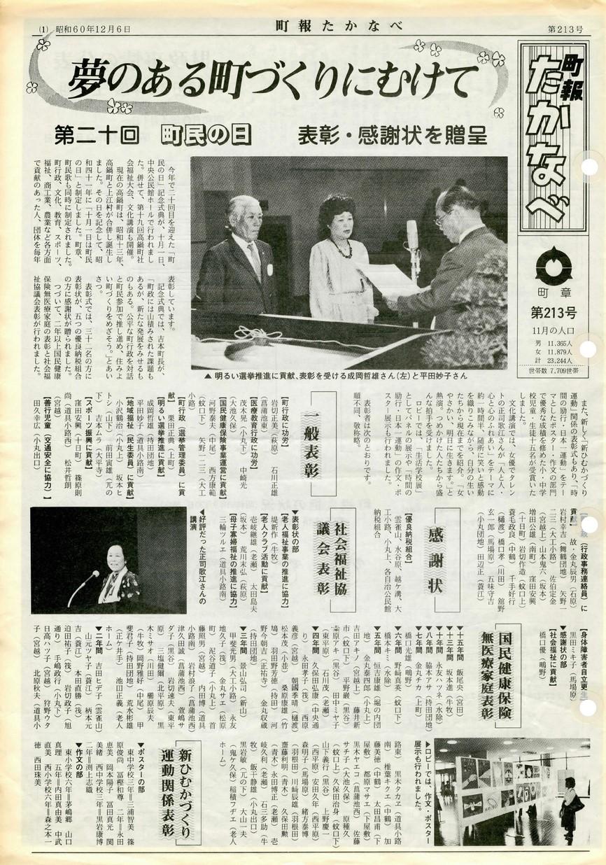 町報たかなべ No.213 1985年12月号の表紙画像