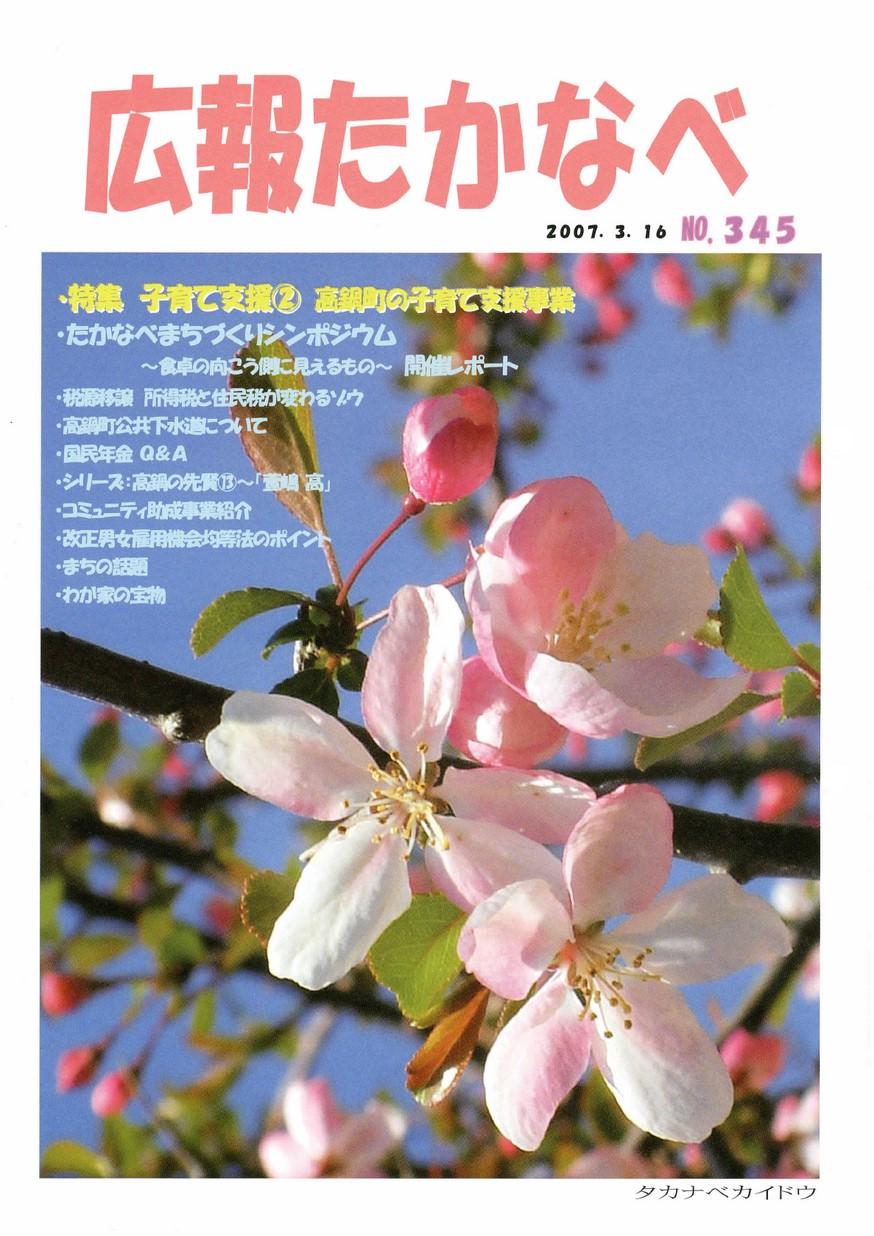 広報たかなべ No.345 2007年3月号の表紙画像